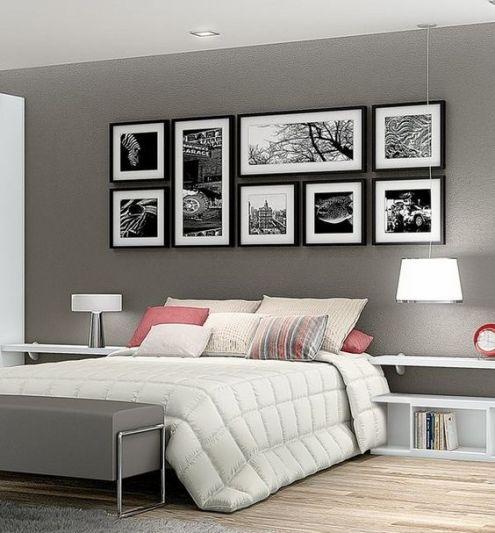 Composizione di 8 quadri di dimensioni diverse con foto in bianco e nero