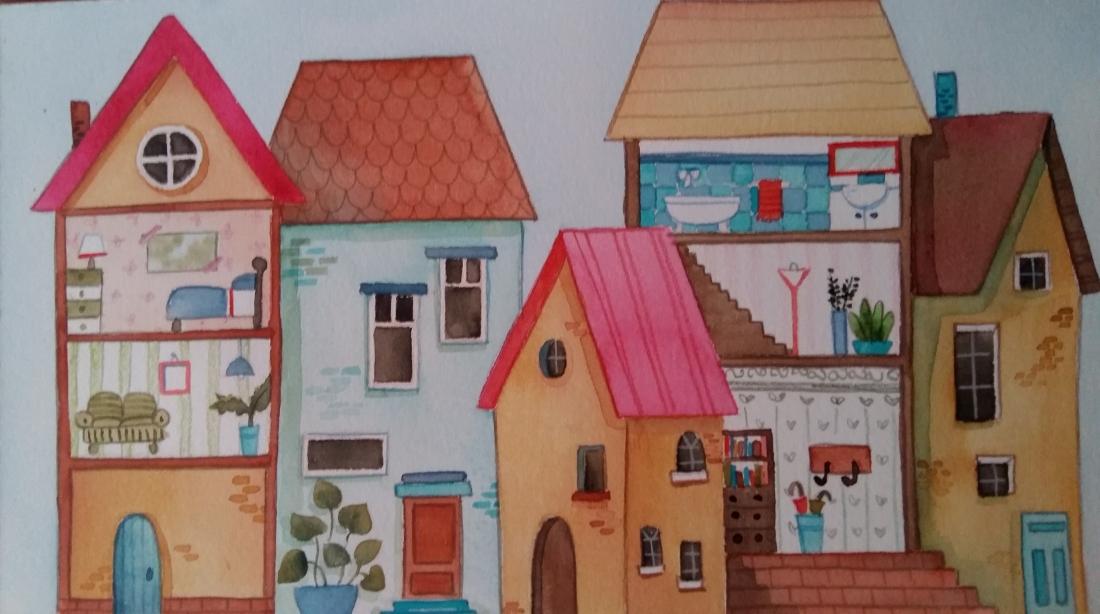 Disegno con acquerello di 5 case imperfette creato da Lellaillustration