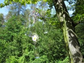 bottiglie di vetro con fiori freschi appese agli alberi
