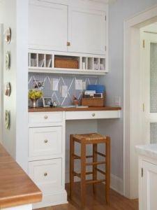 Angolo ufficio ricavato in una nicchia della cucina con mobili della cucina