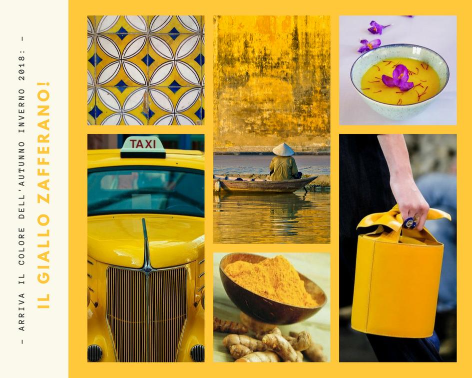 6 foto con diversi soggetti gialli (piastrelle, un paesaggio, un taxy, una zuppa, la curcuma, una borsa)