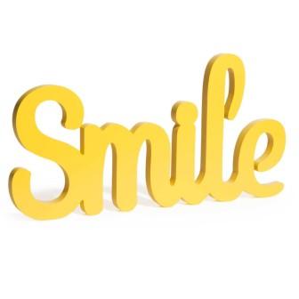 """Scritta """"Smile"""" in pino colore giallo"""