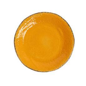 Piatto in ceramica fatto a mano artigianato italiano colore giallo di coin casa