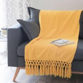 Plaid giallo con frange di maison du monde