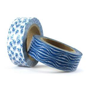 Washi tape con ancore o con onde