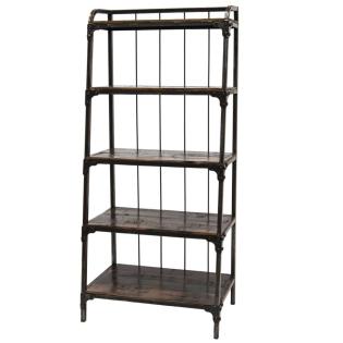 Libreria in stile industriale in ferro e acacia
