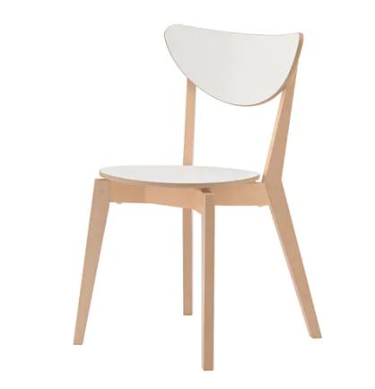 """Sedia """"Nordmyra"""" in betulla con sedile e schienale in laminato melamminico bianco"""