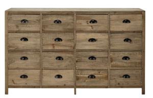 cassettiera in abete con 16 cassetti
