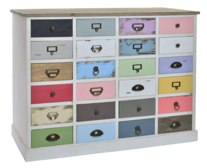 Cassettiera boho chic multicolor con 24 cassetti
