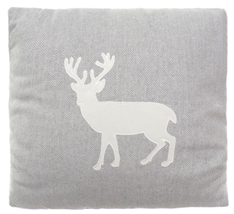 Cuscino in poliestere melange con cervo a contrasto