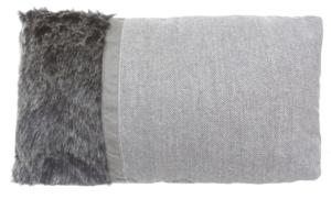 Cuscino in poliestere melange con inserto in tessuto effetto pelo