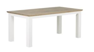 Tavolo con gambe in pino laccato bianco e piano in legno di quercia