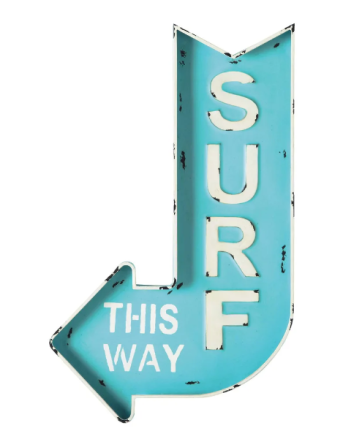 """Decorazione murale """"Surf"""" a forma di freccia"""
