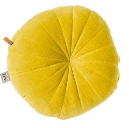 Cuscino giallo rotondo in velluto - Round di Liv Interior