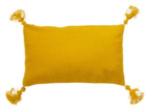 Cuscino giallo rettangolare con nappe di Sema - Modello Lutto