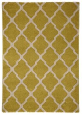 Tappeto Lotus giallo e bianco motivo arabesque