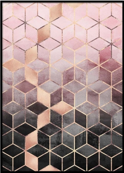 Pink grey gradient cubes
