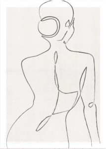 Disegno stilizzato di donna di spalle