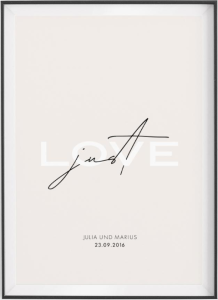"""Stampa """"Just Love"""" personalizzabile con nomi e data"""