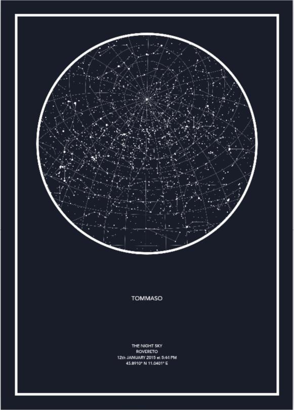 Mappa del cielo in base a data, luogo e ora desiderati