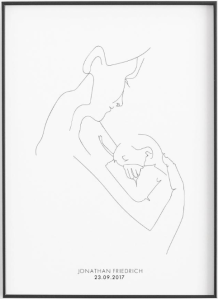Stampa mamma con neonato personalizzabile con nome e data