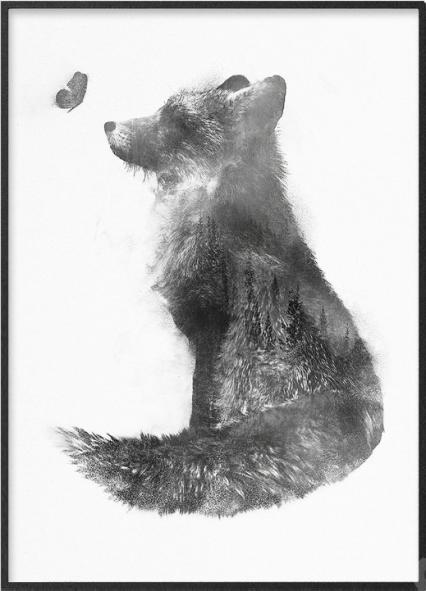 Poster bianco e nero con volpe e foresta sovrapposte