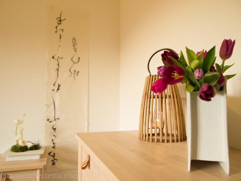 Dettaglio di stanza a ispirazione japandi