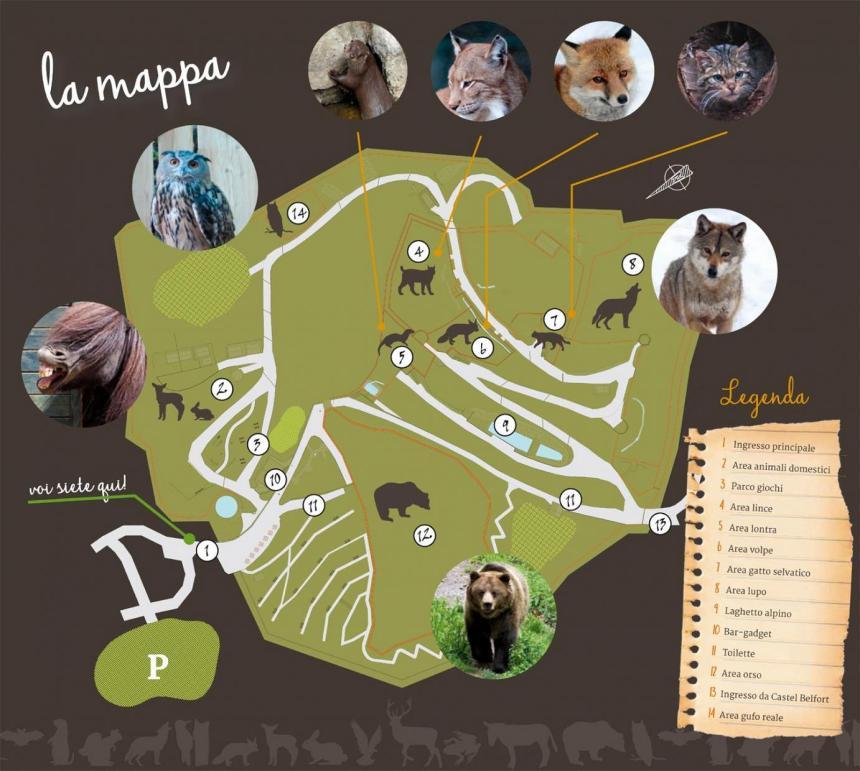 Mappa del parco faunistico di Spormaggiore