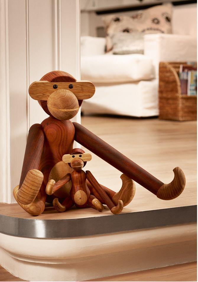 Scimmietta in teak mamma e cucciolo