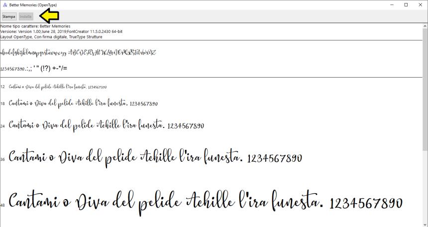 Esempio di download di font