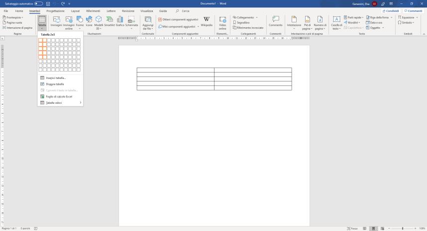 Creazione tabella con 2 colonne e 5 righe