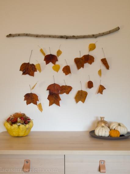 Wall art con foglie secche