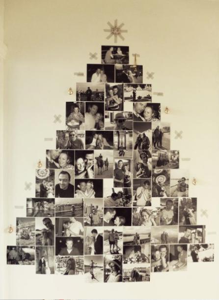 Albero fatto con fotografie in bianco e nero