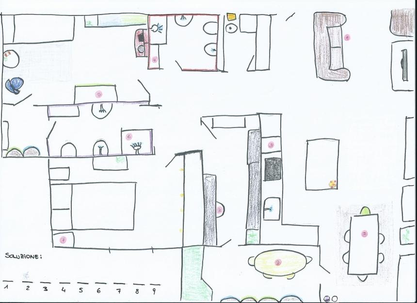 Mappa della Casa Imperfetta con i bollini rossi dove sono nascosti i biglietti indizi