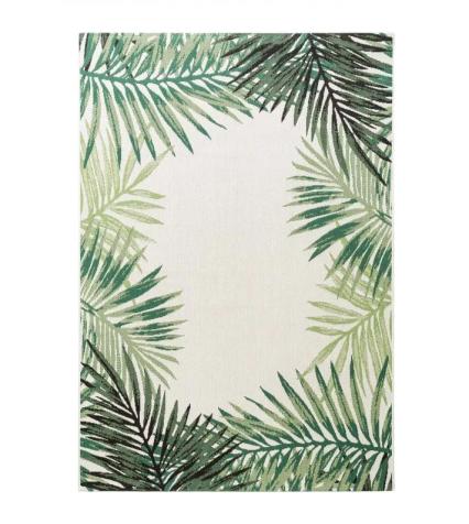 Tappeto con foglie verde chiaro e scuro per un balcone in stile tropical